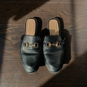 Gold embellished loafers